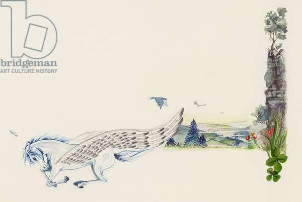 Pegasus, winged stallion, drawing