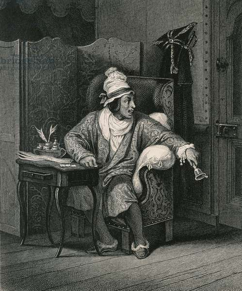 Scene from The Imaginary Invalid by Moliere, by Horace Vernet, engraving