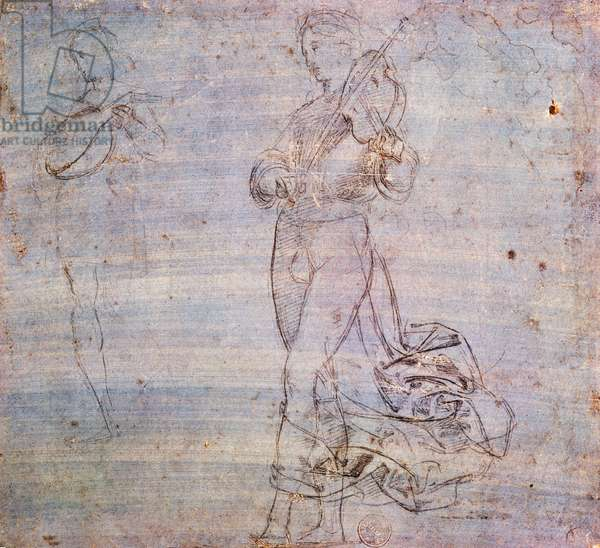 Study for figure with musical instrument