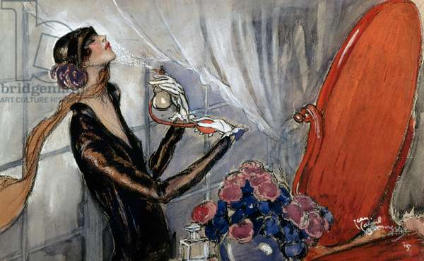 The flapper (La Garconne), ca 1925, by Jean Gabriel Domergue (1889-1962), pencil, watercolour and gouache on paper. France, 20th century.