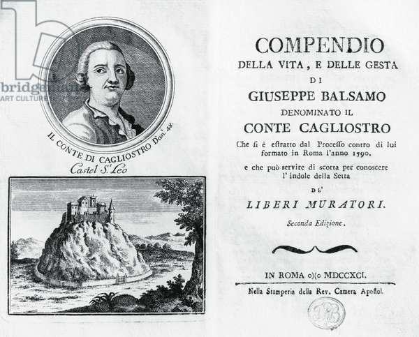 Life of Joseph Balsamo, commonly called Count Cagliostro, title page, Rome, 1791