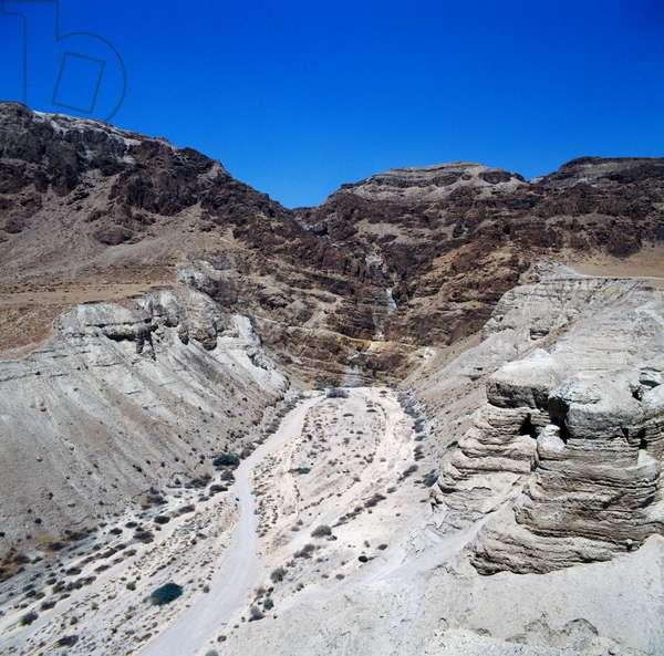 Cave area near ancient Essene settlement of Khirbet Qumran where Dead Sea Scrolls were found, Israel