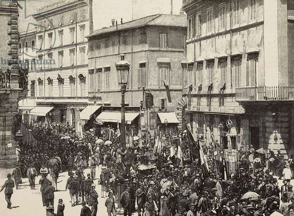 Cortege on Via Nazionale for unveiling of monument to Giordano Bruno (1548-1600), Rome, Italy, engraving from photograph by Carlo Rocchi from L'Illustrazione Italiana, year 16, no 25, June 23, 1889
