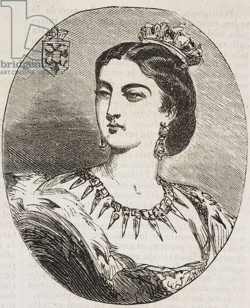 Portrait of Henrietta Maria of Hapsburg-Lorraine (1836-1902), Archduchess of Austria, wife of Leopold II and Queen consort of Belgians, illustration from Il Giornale Illustrato, Year 3, No 5, February 3-10, 1866