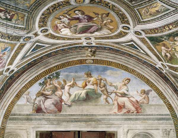 Cardinal and Theological Virtues, 1508-1511, detail from Virtues and Law, fresco by Raphael (1483-1520), Stanza della Segnatura,  Apostolic Palace, Vatican City