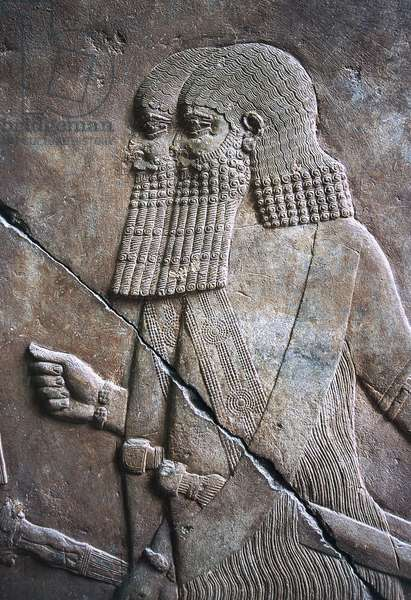 Bas-relief from Nineveh, in Pergamon Museum, Berlin, Germany, Babylonian civilization, 7th century BC, Detail