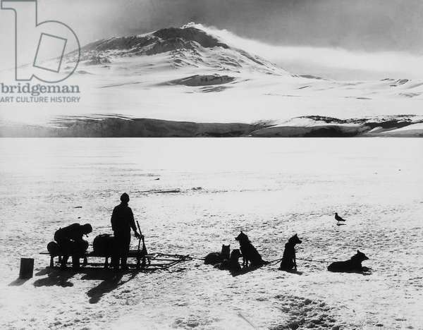South Pole expedition by Robert Falcon Scott (1868-1912), explorers before Erebus volcano on Ross island, January 15, 1911, 20th century