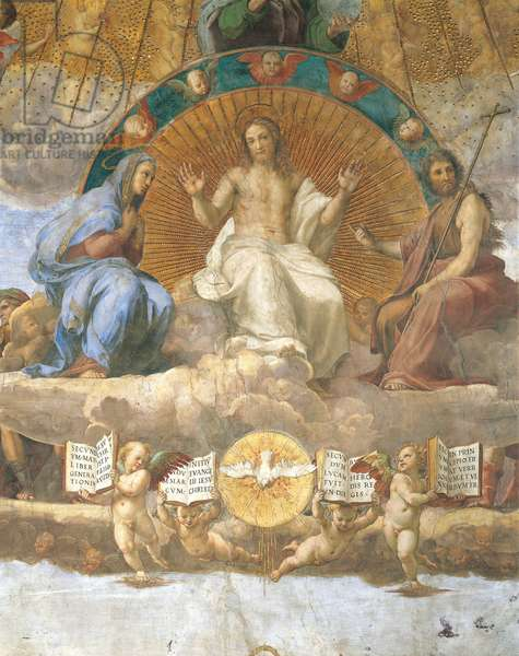 Christ flanked by the Blessed Virgin Mary and John the Baptist, detail of the Disputation of the Holy Sacrament, 1509-1510, by Raphael (1483-1520), fresco, Room of the Segnatura, Apostolic Palace, Vatican City