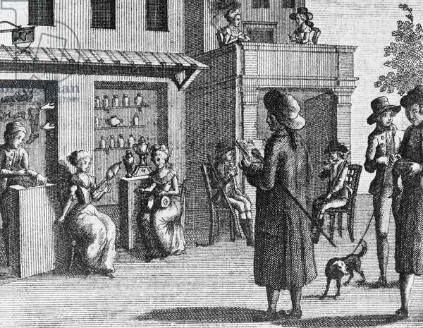 Illustration for fan, comedy by Carlo Goldoni (1707-1793), engraving, from Opere teatrali del sig avvocato Carlo Goldoni veneziano, published by Antonio Zatta e figli, 1789, Venice