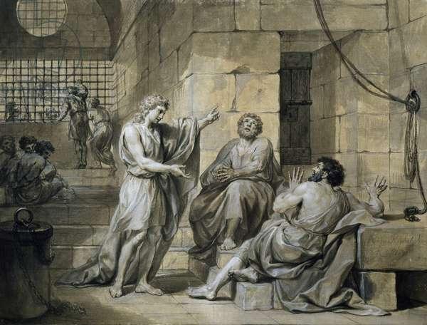 Joseph of Egypt in Prison, by Anton Raphael Mengs, mixed media, 1728-1779, 45x59 cm