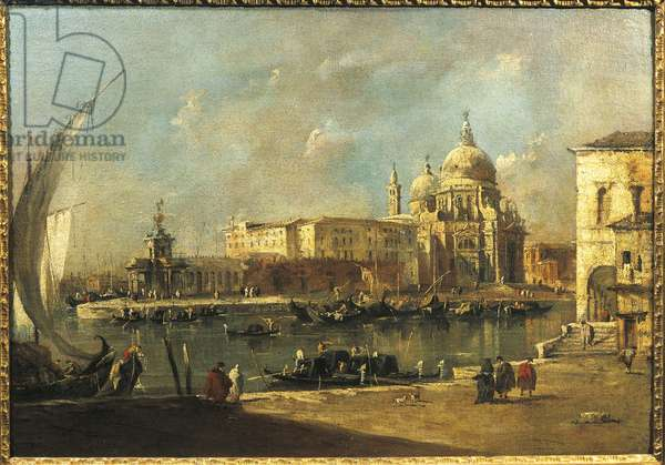 View of the Dogana and Santa Maria della Salute, Venice (oil on canvas)