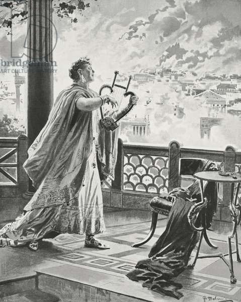 Nero (Herbert Beerbohm Tree) playing lyre while Rome burns, scene from Nero by Stephen Phillips, being performed in London, United Kingdom, drawing by Fortunino Matania, from L'Illustrazione Italiana, Year XXXIII, No 6, February 11, 1906
