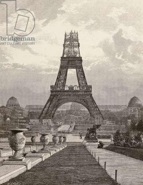 View of Eiffel Tower under construction, Paris, 1889, France, 19th century