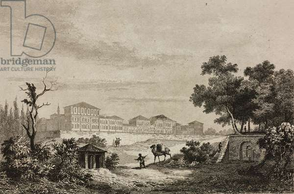 Burial ground or Champs des Morts Barracks at Pera, Beyoglu, Turkey, engraving by Lemaitre and Blanchard, from Turquie by Joseph Marie Jouannin (1783-1844) and Jules Van Gaver
