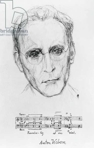 Portrait of Anton von Webern, known as Anton Webern (Vienna, 1883-Salzburg, 1945), Austrian composer, lithograph created by Hildegard Jone (1891-1963).