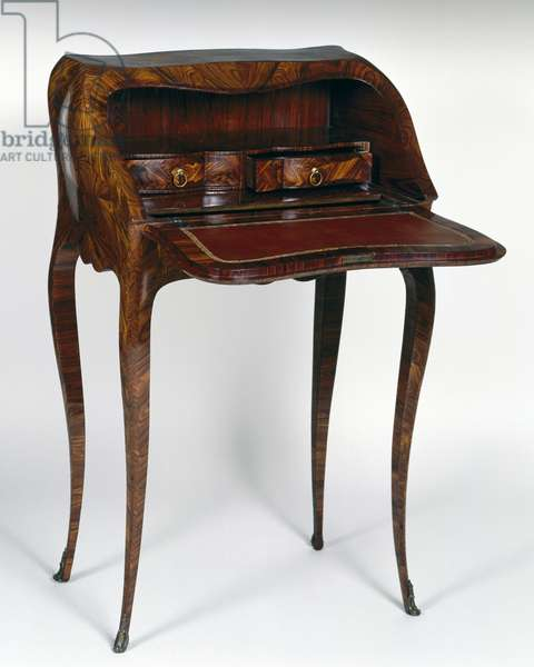 Small Louis XV style bureau to dos d'ane (slant front writing desk) with kingwood veneer finish, stamped Jacques Dubois, after 1742, open, France, 18th century