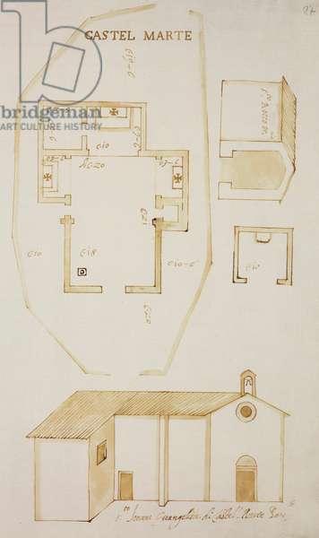 Plan and elevation of church of Saint John Evangelist, plan and elevation of Oratory of Saint Roch, Castel Marte (Castelmarte), parish of Incino Erba, designed on occasion of visit of Carlo Borromeo, about 1574, Italy, 16th century