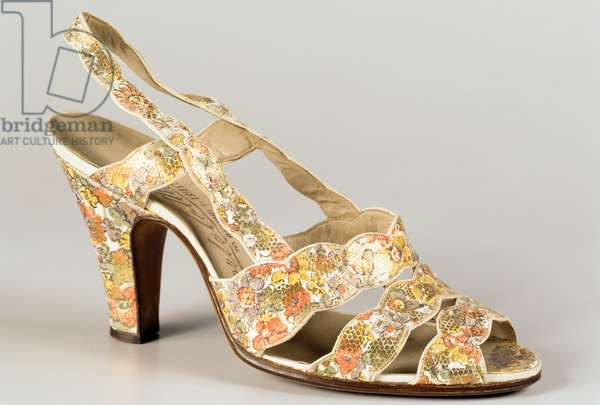 Woman's white sandal with floral decorations, 1936-1940, Trieste, Friuli-Venezia Giulia, Italy, 20th century