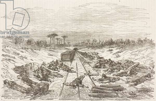 Break time in Argamasilla during construction of railway, Castile-La Mancha, Spain, drawing by Dore, from Travels in Spain by Gustave Dore (1832-1883) and Jean Charles Davillier (1823-1883)