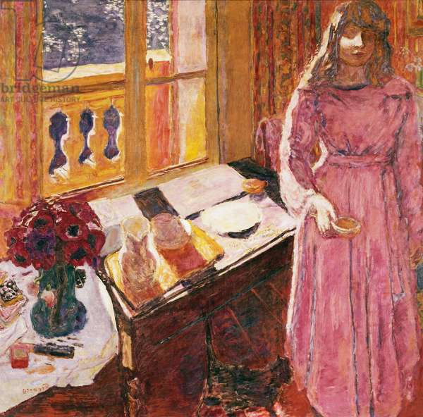 The bowl of milk, ca 1919, by Pierre Bonnard (1867-1947), oil on canvas, 116x121 cm. France, 20th century.