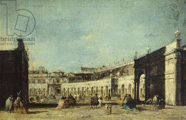 Parade for feast of Ascension in Piazza San Marco by Francesco Guardi (1712-1793), oil on canvas, 29x45 cm, ca 1780