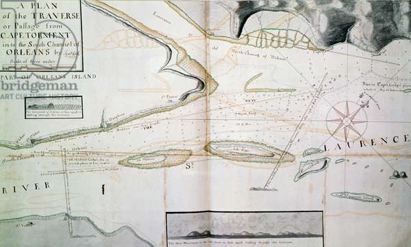 Map of crossings on Saint Lawrence River near Quebec, near island of Orleans, map drawn by James Cook (1728-1779) between 1758-1763, Canada, 18th century