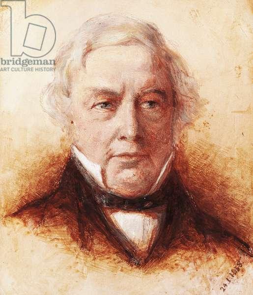 Portrait of Thomas Love Peacock (Weymouth, 1785 - Lower Halliford, 1866), English writer and poet, Oil on pressed cardboard Henry Wallis (1830-1916), 1858, 15.5 x14 cm