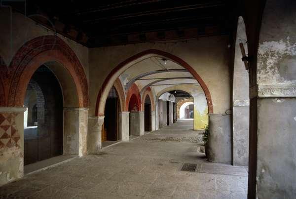 Medieval porticos in Cuorgne, Piedmont, Italy