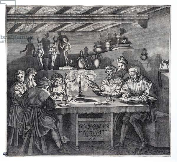 The Academy of Baccio Bandinelli (L'Accademia di Baccio Bandinelli) by Agostino Veneziano (also known as Agostino dei Musi, circa 1490 -1540), engraving, 1531
