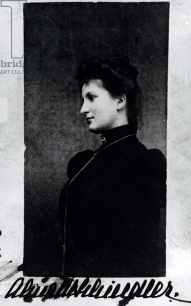Portrait of Alma Schindler (1879-1964) 1897  (b/w photo)