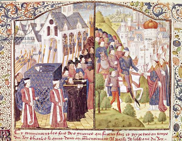 St Louis's funeral in Paris and Charles VI 's Coronation in Reims, miniature from Froissart's Chroniques, France 15th Century.