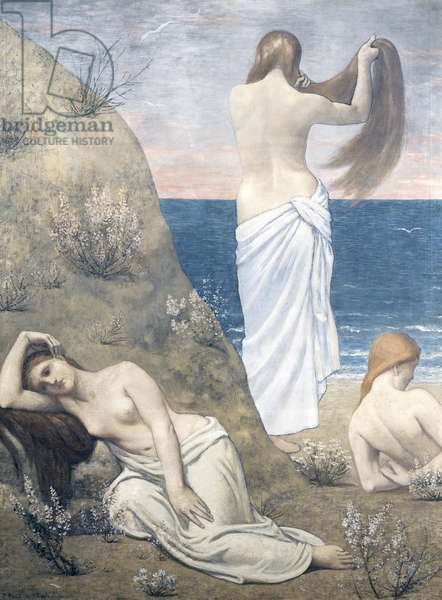 Young girls at the seaside, 1879, by Pierre Puvis de Chavannes (1824-1898), oil on canvas, 205x154 cm.