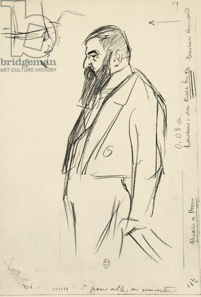 Portrait of Tristan Bernard (Besancon, 1866 - Paris, 1947), French writer, playwright and journalist, by Paul Charles Delaroche (1886-1914)