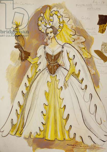 Costume sketch by Giarri for Duchess Matilde, third act of opera Giselle, by Adolphe Charles Adam, 1971