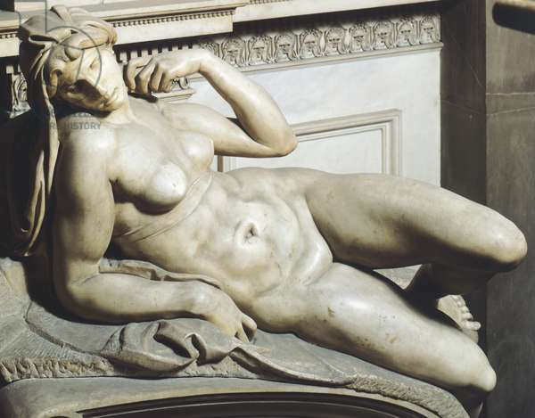 Dawn (Aurora), from tomb of Lorenzo de' Medici by Michelangelo (1475-1564), marble sculpture, Medici Chapel of Church of San Lorenzo, Florence, Tuscany, 1525-1534