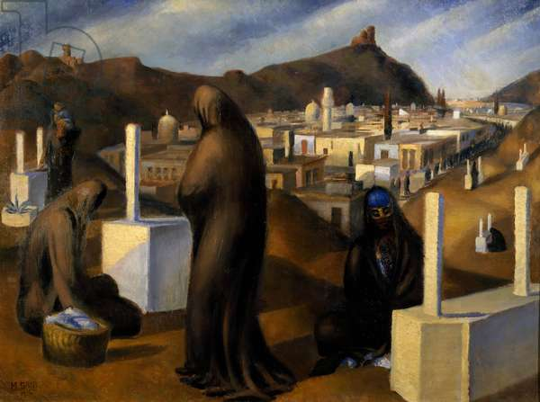 The tombs, 1926, by Mahmoud Said (1897-1964), oil on canvas, 113x85 cm. Egypt, 20th century.