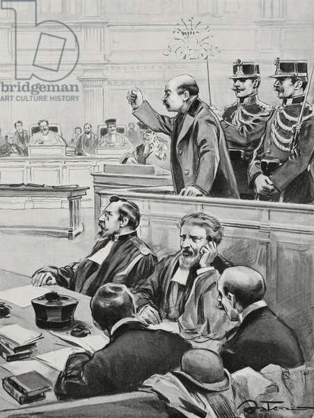 Anarchist Gennaro Rubino's trial for attempted assassination, 1903 (engraving)