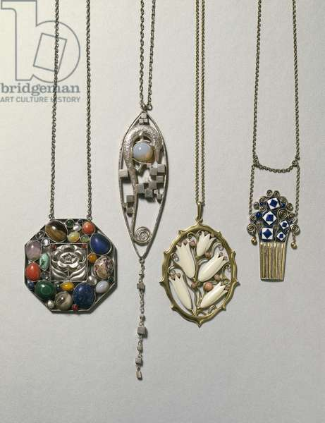 Pendant by J. Hoffmann, 1906-1907; silver and opal pendant by Koloman Moser called Kolo, 1904; gilded silver, ivory and coral pendant by Oscar Dietrich for E. J. Margold, 1912; enameled gold and silver pendant by Carl Witzman,1908.