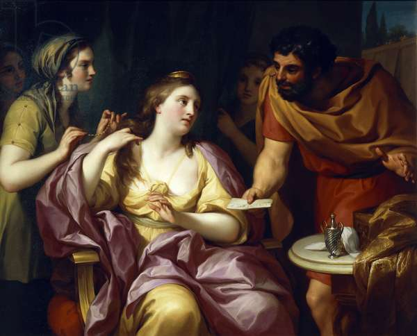 Semiramis Welcomes the News of the Revolt of Babylonian, by Anton Raphael Mengs, 1755, oil on canvas, 1728-1779, 1055x137 cm