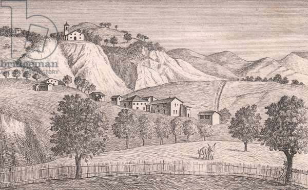 View of Church of Saint Lawrence, Liserna, Vergato, Emilia-Romagna, Italy, lithograph, circa 13x17 cm