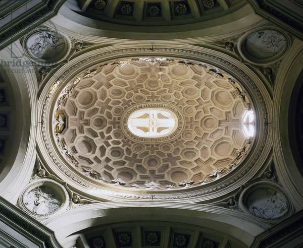 Inside dome from Church of St Charles at Four Fountains, architect Francesco Borromini (1599-1667), Rome., Italy, 17th century