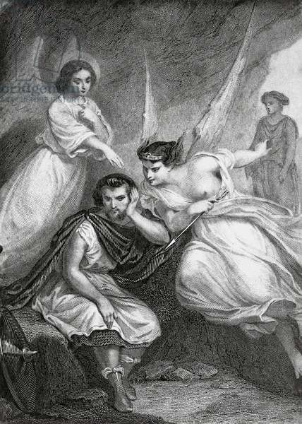 Eudorus tempted by devil, illustration for Martyrs, prose epic by Francois-Rene, vicomte de Chateaubriand (1768-1848), engraving after a drawing by Pierre Gustave Eugene Staal (1817-1882), from a Parisian edition published in 1859