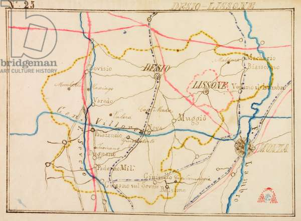 Parishes of Desio and Lissone, on occasion of pastoral visit of Cardinal Andrea Carlo Ferrari, 1895-1897, planimetry with Seveso and Lambro Rivers and Villoresi Canal, tramway indicated by blue dotted line, railway in red, Italy, 19th century