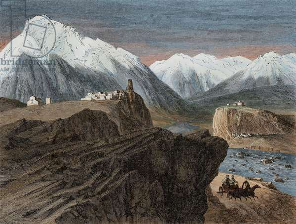 Sion and Orsete, Georgia, drawing from Journey from Tiflis in Stavropol, to Dariali Gorge, 1858, text and drawings by Blanchard