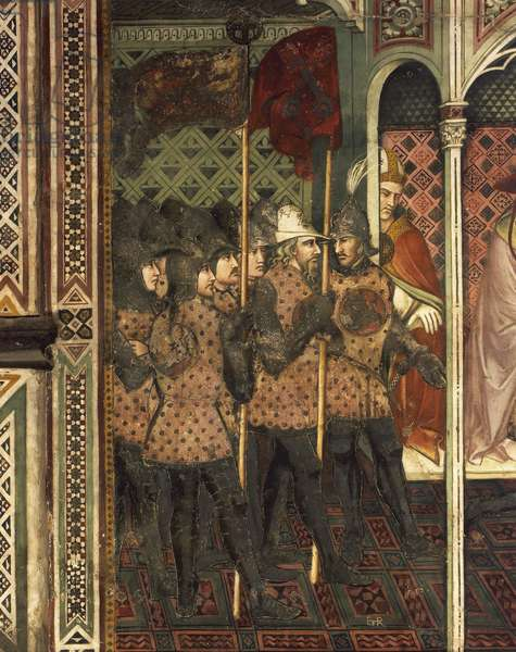 The pope handing his sword over to the Doge Ziani, scene from the Stories of Alexander III, 1407-1408, by Spinello Aretino (ca 1350-1410), fresco, Priory Room, Public Palace, Siena (UNESCO World Heritage List, 1995), Tuscany. Detail. Italy, 15th century.