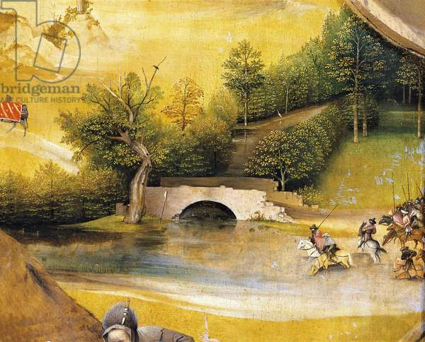 Riders crossing a river, detail from Adoration of the Magi, by Hieronymus Bosch, 1510, oil on canvas, Circa 1450-1516, 138x144 cm