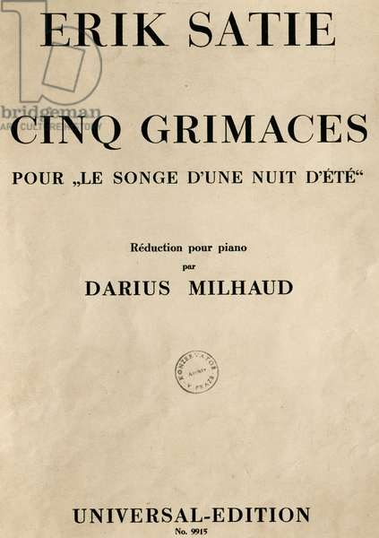 Title page of piano reduction for a Midsummer night's dream by Erik Satie, by Darius Milhaud (1892-1974), opera in eight scenes, France, 20th century