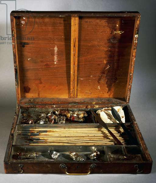 Paint and brushes case of French painter Pierre-Auguste Renoir (1841-1919).