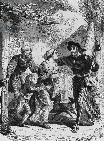 Pilgrim's homecoming, illustration for Genius of Christianity, by Francois-Rene, vicomte de Chateaubriand (1768-1848), engraving by Felix Henri Emmanuel Philippoteaux (1815-1884), published by Bechet, 1859, Paris