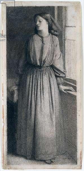 Elizabeth Siddal standing at a window, 1854, by Dante Gabriel Rossetti (1828-1882), ink on paper, 22x8 cm. United Kingdom, 19th century.